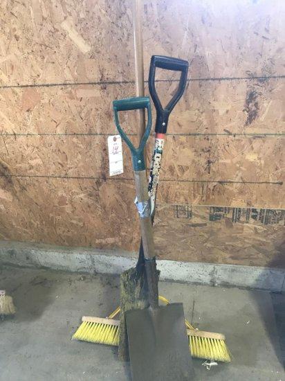 Spade, Sand Shovel, and Newer Push Broom
