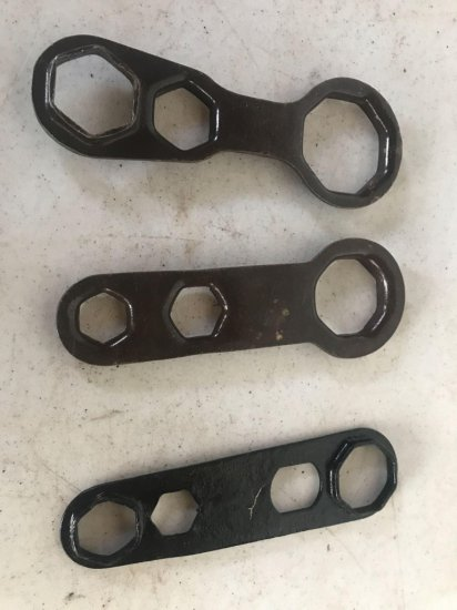 3 varied sized antique wrenches