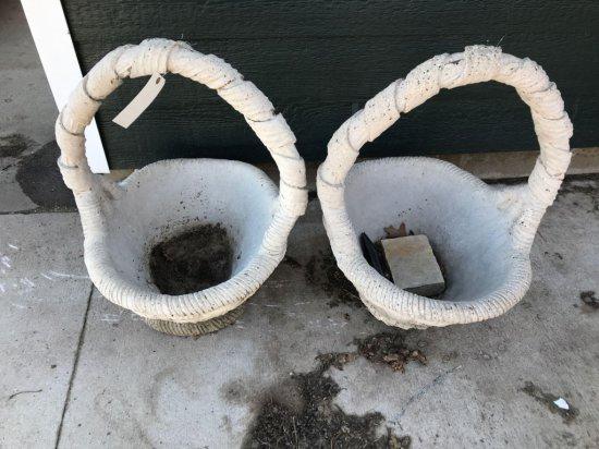 2 concrete outdoor baskets. No shipping.