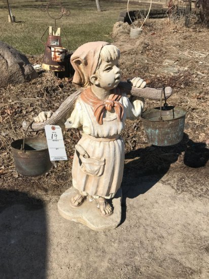 Concrete milk girl with 2 metal buckets. No Shipping.