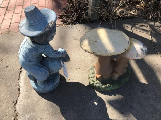 Concrete lawn ornament/boy with water pot and mushroom. No shipping.