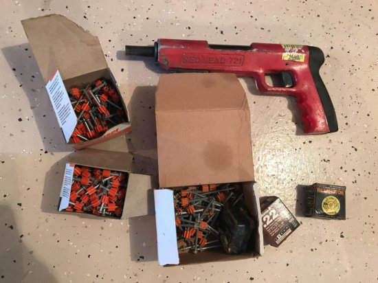 Red Head 721 masonry gun with power loads and partial boxes of fasteners