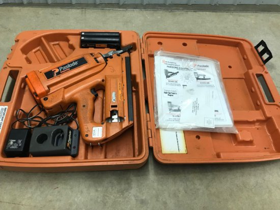 Battery powered Paslode impulse framing nailer with charger, batteries, and hard case. Works well!
