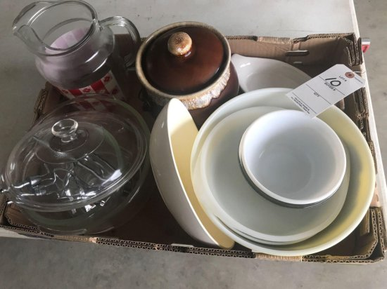 Water pitcher, Bean pot, hand beaters, glass mixing bowls, and large Pyrex mixing bowl - NO SHIPPING