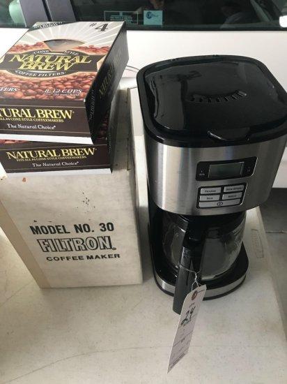 Hamilton Beach coffee maker, filters and Filtron Jr. coffee maker