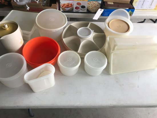 Various Tupperware containers, water pitchers, and much more.