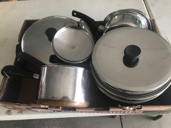 Various kettles, revere ware, (2) 6 quart pans, and much more!