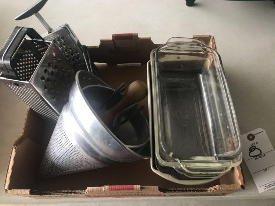 (2) glass baking dishes, and (4) bread pans, cheese grater, and colander - NO SHIPPING