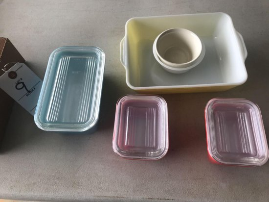 (3) glass lidded refrigerator dishes, 1 larger and 2 smaller, plus other dishes