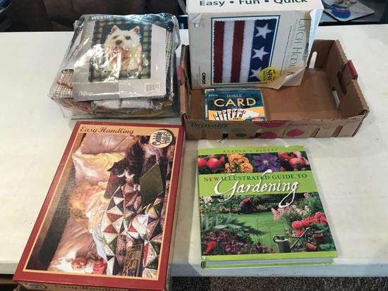 275 Pc. puzzle, Illustrated Gardening book, Latch hook kit of American flag (Shipping available)