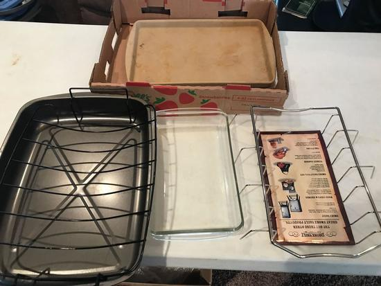 Pyrex clear glass baking dish, Smoke vault, Metal drip pan (Shipping available)