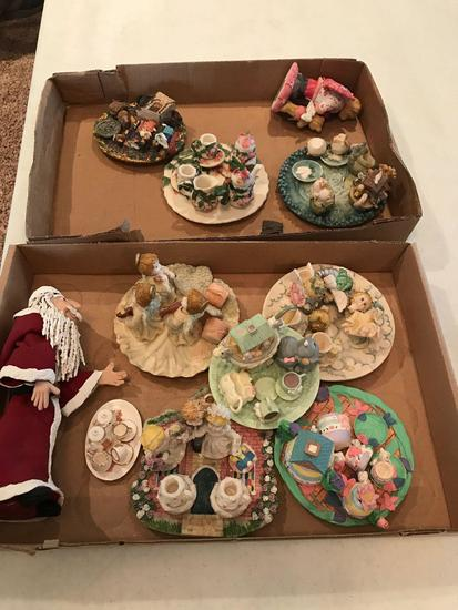 2 Boxes of miniature tea sets and figurines (Shipping available)