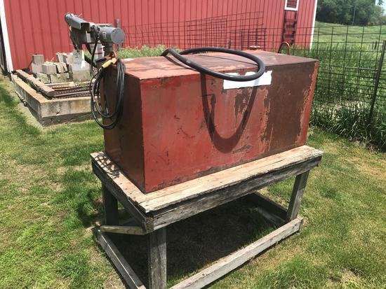 100 gallon rectangle fuel tank with 12 volt electric motor.
