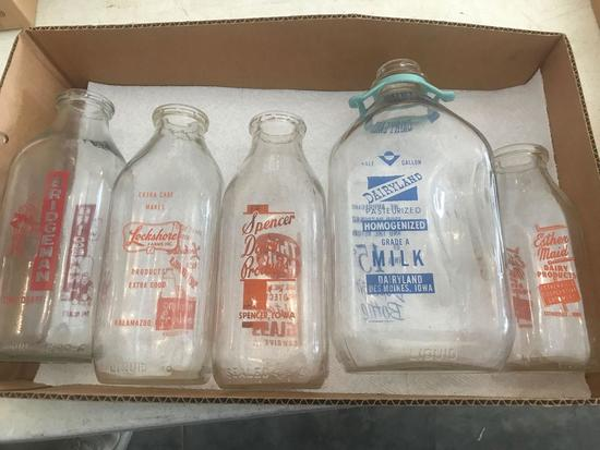 Milk Bottle Collection. (1) 1/2 Gal. Dairy Land, Des Moines, (1) Qt. From Spencer, IA., (1) Qt. From