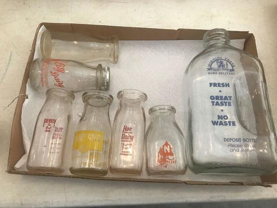 """Milk Bottle Collection. (1) 1/2 Gal."""" Morning Fresh"""", (1) Pt. Durand, Wis. (1) Pt. Roe Diary, 1/2"""