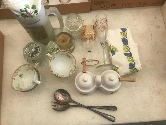 (4) Sango Cups, Jam Jars, Souvenir Beer Mug, and Candles