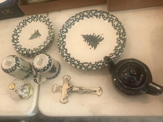 "(4) Plates, (4) Salad Plates, (2) Cups, ""Winter Wonderland"" by Folk Craft, Teapot, and Tree"