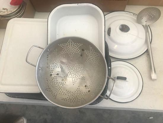 Baking Pans, Enamelware and Colander