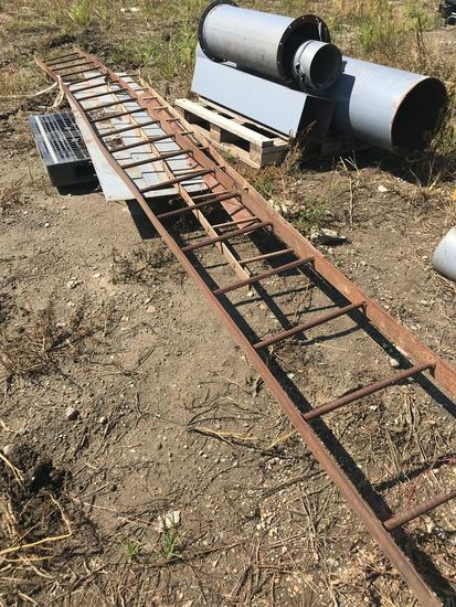 Pallet of steel ladders and misc. tubing w/ various sizes and lengths.