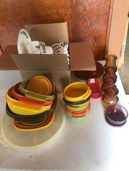 Tupperware dishes and containers, large set of Pyrex cups, cream and sugar, and more!