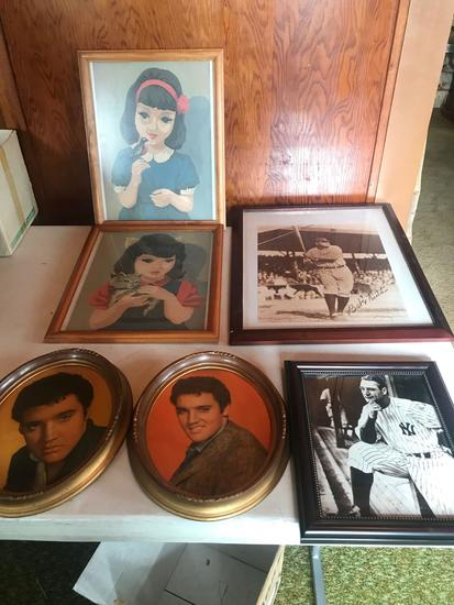 2 oval pictures of Elvis Presley, a framed print of Lou Gehrig (played in 2,130 consecutive games,