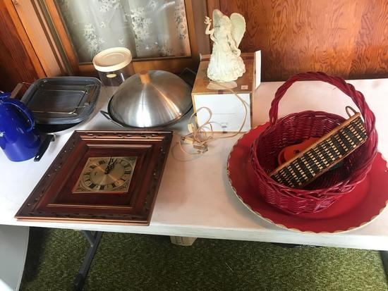 Maxwell House coffee carafe, frying pan, Wok, a porcelain night light angel and wicker basket, and
