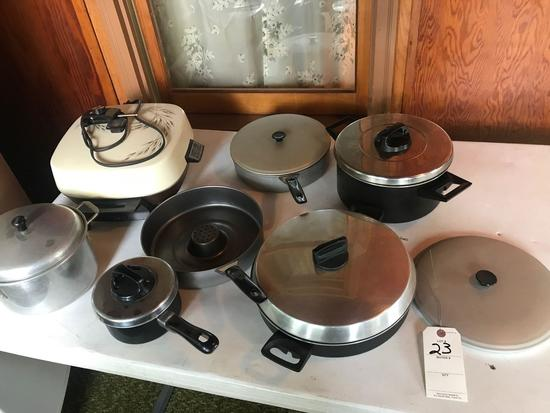 Various Kettles, and GE electric skillet w/ cord.