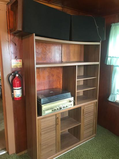 Entertainment center w/ 2 side doors, Sounddesign AM/FM stereo, 8-track, turn table, and 2 large
