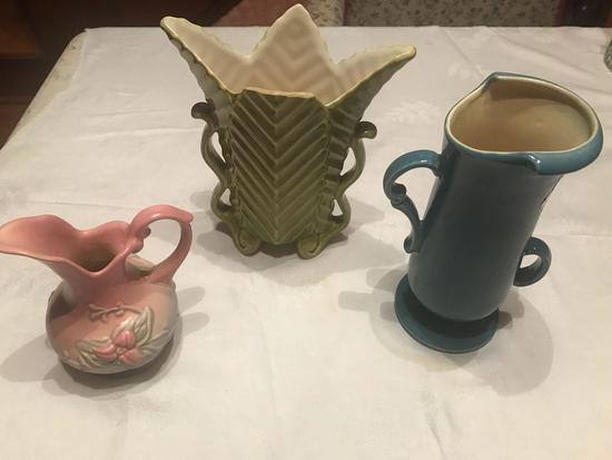 """Redwing 8"""" blue vase, unmarked 8"""" tall green vase and 6"""" tall Hull vase W-2 3 1/2"""". All in good"""