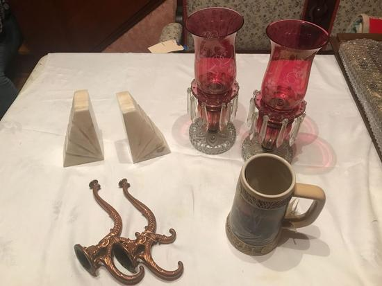 Ducks Unlimited Terry Redlin collection beer stein, Miller draft, number 12065. Onyx book ends, Pair