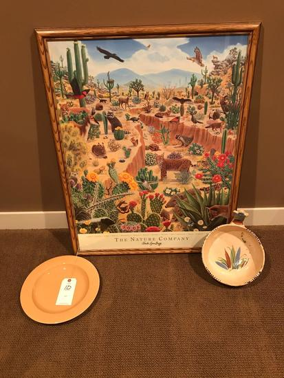 12'' dish & Mexican Bowl, plus a matted picture 28'' wide X 36'' tall