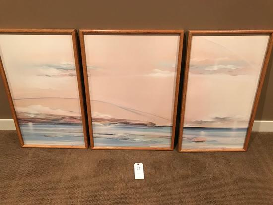 """Matching 3-piece framed """"ocean front"""" pictures. Center picture is 23'' wide x 33'' tall, (2) 19''"""