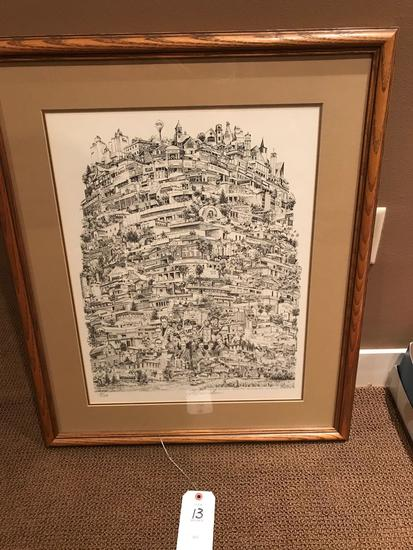 Matted framed picture of stacked Sioux Center businesses. 24.5'' wide x 30'' tall.