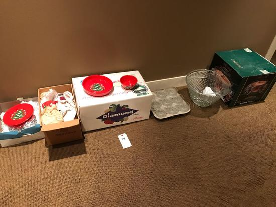 Various Christmas decor, cups, plates, dishes, and punch bowl w/ (8) cups