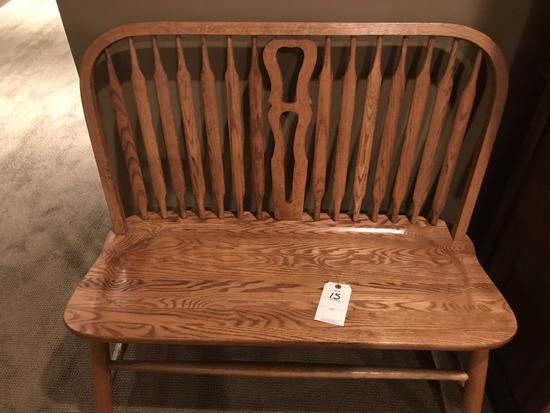 3' wide solid oak love seat.