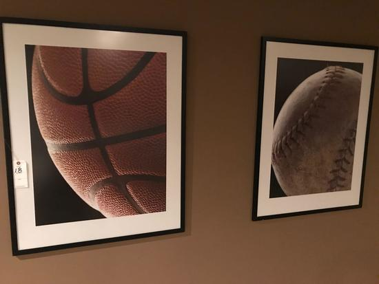 """2 wall decor pictures of """"baseball"""" and """"Basketball"""" 31.5'' wide, 40'' tall"""
