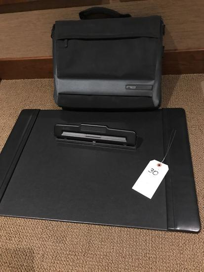 Desk-top pad and hole punch plus padded laptop case.