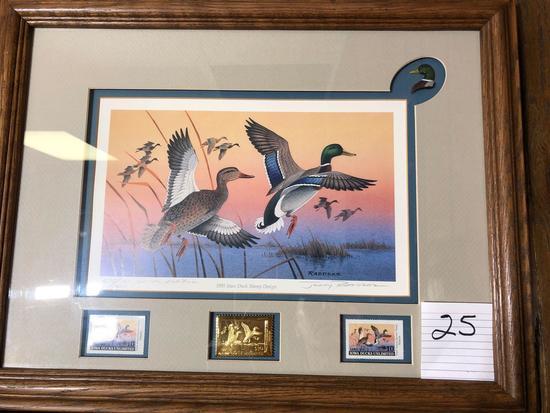 1991 Iowa Ducks Unlimited Print/Stamp By Jerry Raideke