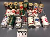 Assortment inc. Rainier, Red White Blue, Regal, Red Bull, Rhinelander