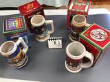 Assortment Budweiser Holiday Stein Series 2002-2003-2004-2005
