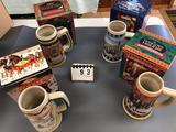 Assortment Budweiser Holiday Stein Series 1994-1995-1996-1997