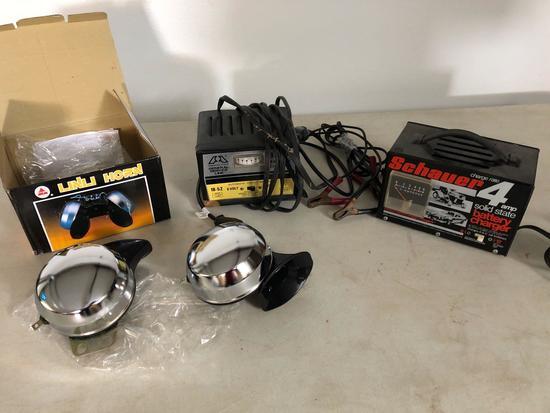 4amp battery charger, 3amp battery charger, and a electric double-tone horn