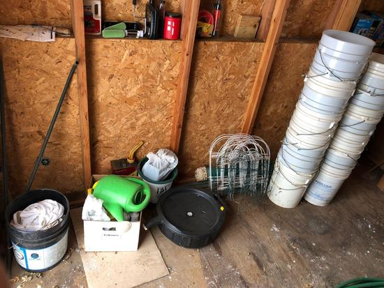 approx. (25) 1-gal. pails, waste oil bucket, garden fencing, sprinkling can, and more! NO SHIPPING!