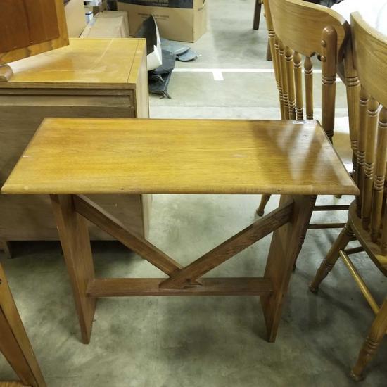 Wood table & wall shelf