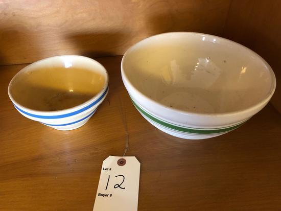 Green & blue banded crock bowls