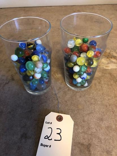 2 Glasses of various marbles