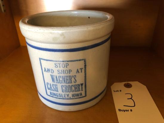 Wagner's Cash Grocery, Kingsley, IA beater jar w/blue band