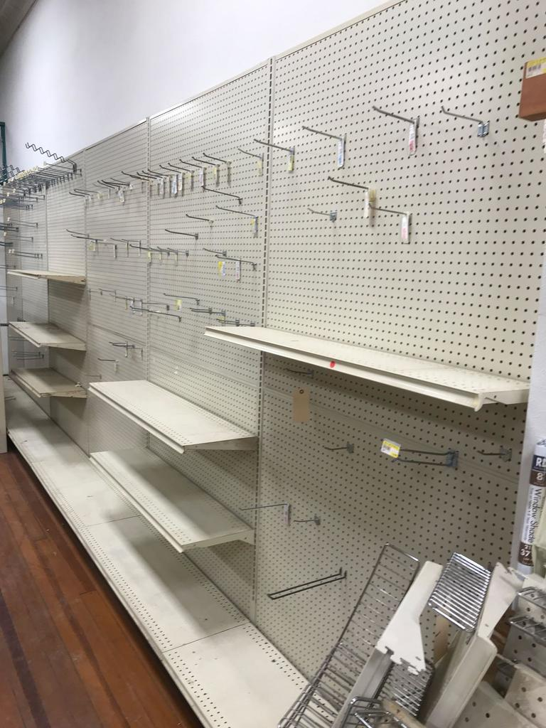 6 Sections of Lozier Shelving and some Hooks and Shelves