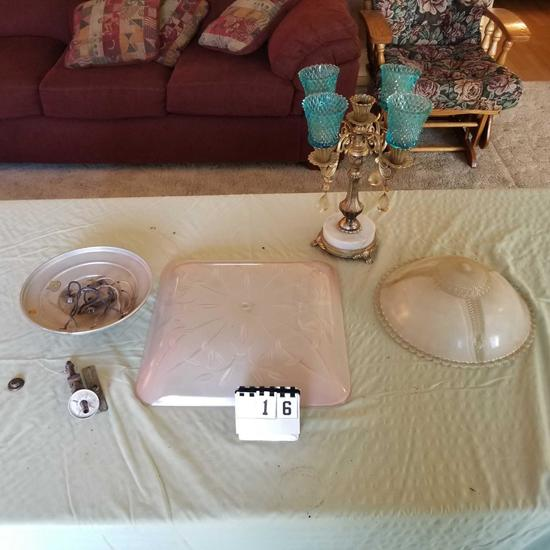 Assortment Light Fixture Shade and Marble Base Candlebra