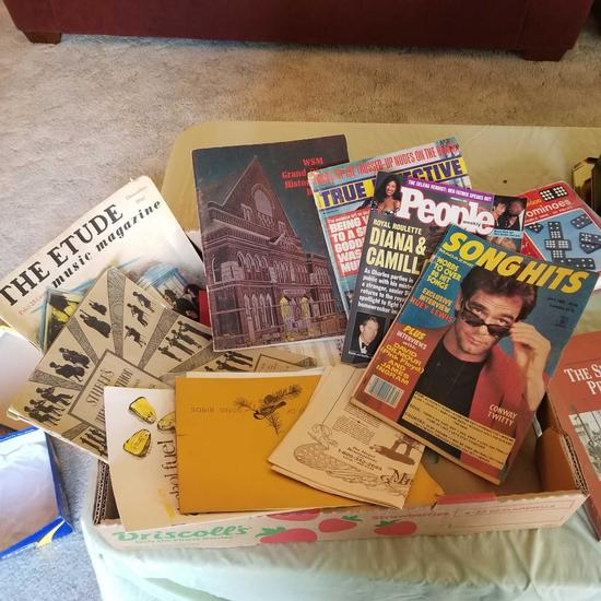 Assortment Games inc. Dominoes,Chess and Variety of Magazines